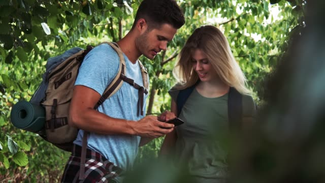 couple searching location in phone while hiking - guidance stock videos & royalty-free footage