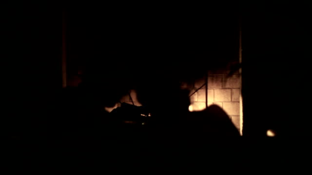 couple silhouetted in front of fireplace kissing - hot passionate kissing stock videos & royalty-free footage