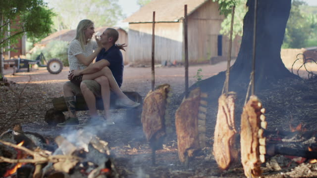 ms a couple sit talking and drinking at a barbecue / maringa, brazil - hot kiss stock-videos und b-roll-filmmaterial