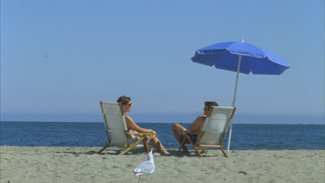 ws couple sitting in deck chairs and talking on beach under umbrella / phippsburg, maine, usa  - deck chair stock videos & royalty-free footage