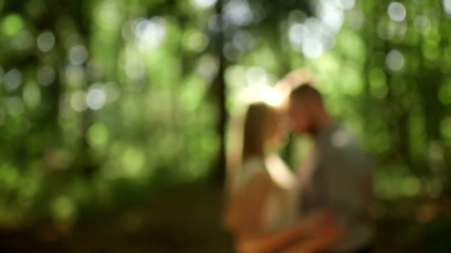 MEDIUM SHOT DOLLY SHOT DEFOCUS Couple standing in forest on sunny day