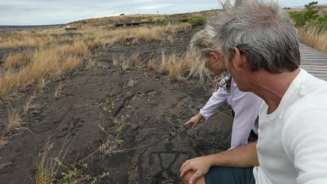 couple stop on boardwalk, looks at petroglyphs - isole del pacifico video stock e b–roll