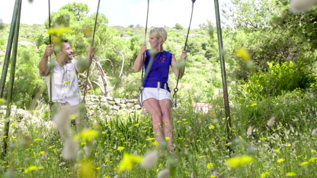 ls ds couple swinging on a swing - mid adult couple stock videos & royalty-free footage