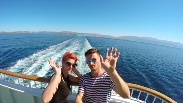 POV Couple taking a selfie on the ferry