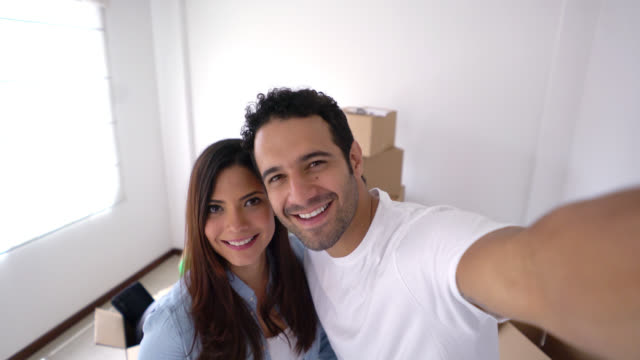 Couple taking a selfie while moving