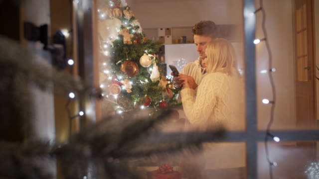 ls couple taking pictures of a christmas tree - mid adult couple stock videos & royalty-free footage