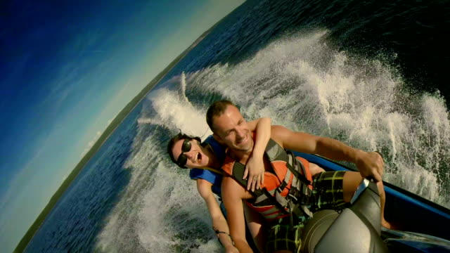 POV Couple Taking Selfies On A Jet Boat