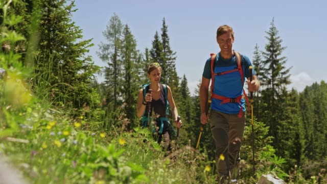 couple talking and smiling while hiking up a sunny mountain meadow - vest stock videos & royalty-free footage
