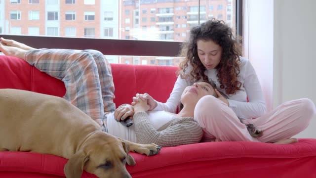 lgbt-paar im gespräch auf der couch - lateinische schrift stock-videos und b-roll-filmmaterial