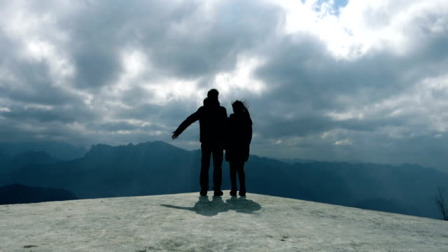 Couple traveling at mountain