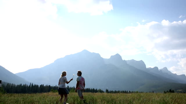 couple walk across mountain meadow at sunrise - alberta stock videos & royalty-free footage