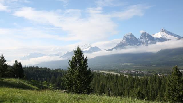 Couple walk across mountain meadow, spread blanket