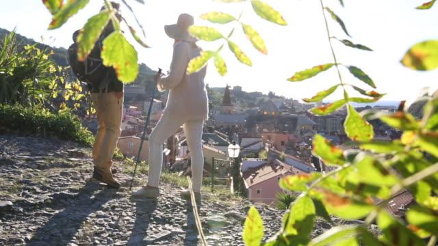 stockvideo's en b-roll-footage met couple walk along cobblestone path, look out over village - kassei
