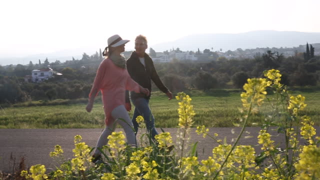 vídeos de stock e filmes b-roll de couple walk along roadway past yellow flowers, look off - casal de meia idade