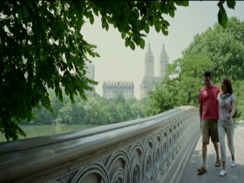 couple walk and stop to look at the view from a stone bridge in central park, new york - gemeinsam gehen stock-videos und b-roll-filmmaterial