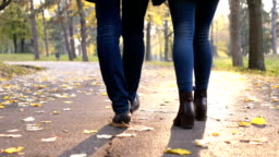Couple walk in a park