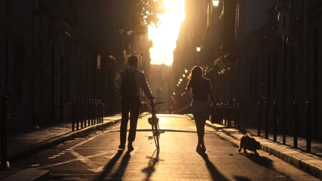 couple walk on the sunset light in the rue de verneuil during a summer evening on july 27, 2020 in paris, france. heat wave hits the french capital,... - summer heat stock videos & royalty-free footage