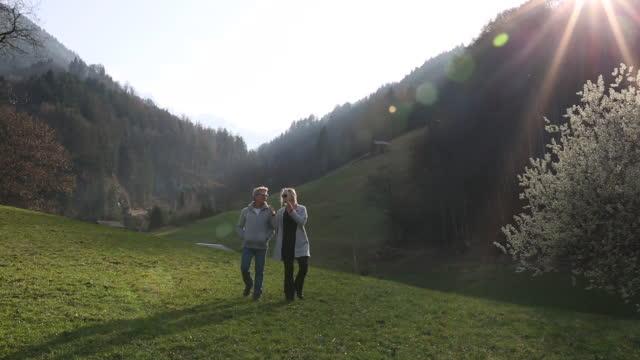 vídeos de stock e filmes b-roll de couple walk through mountain meadow, sunrise - casal de meia idade