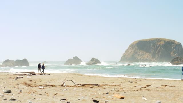 Couple Walking Along Idyllic Beach