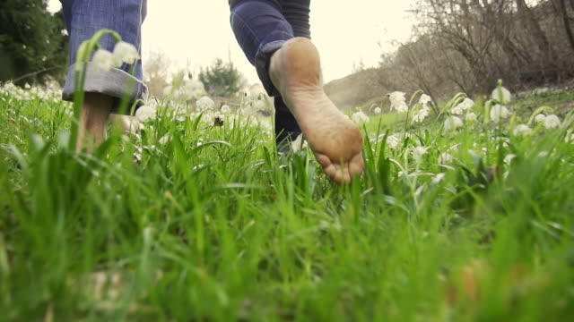 stockvideo's en b-roll-footage met hd super slow-mo: couple walking barefoot in the meadow - blootvoets