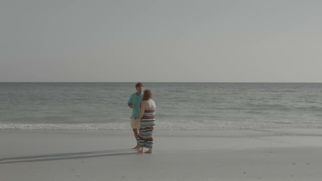 couple walking in love walking in waterfront shore desaturated image - desaturated stock videos & royalty-free footage