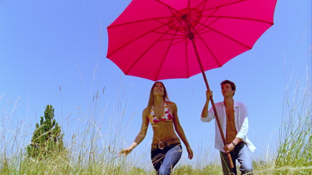 SLO MO, MS, Couple walking in meadow, man carrying large pink sun umbrella, Saint Ferme, Gironde, France