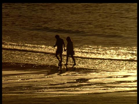 couple walking on beach at edge of sea evening sun light glittering on wet sand. abel tasmen national park. - couple relationship stock videos & royalty-free footage