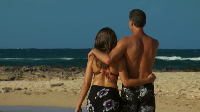 couple walking on beach rear view - see other clips from this shoot 1142 stock videos & royalty-free footage