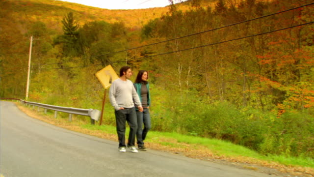 ws, ds, couple walking on country road in autumn, phoenicia, new york, usa - アルスター郡点の映像素材/bロール