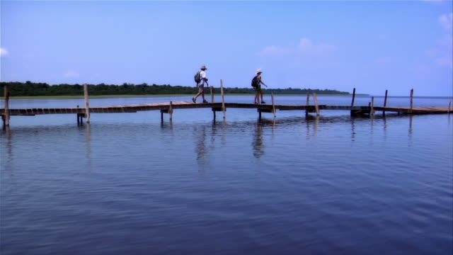 couple walking on jetty jutting out onto rio negro / the amazon, brazil - paar mittleren alters stock-videos und b-roll-filmmaterial