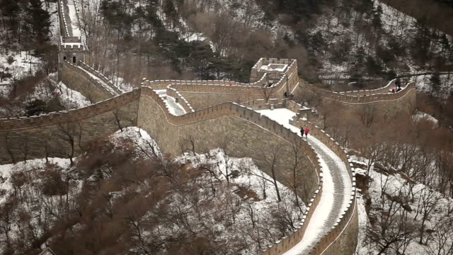 couple walking on top of great wall of china - badaling stock videos and b-roll footage