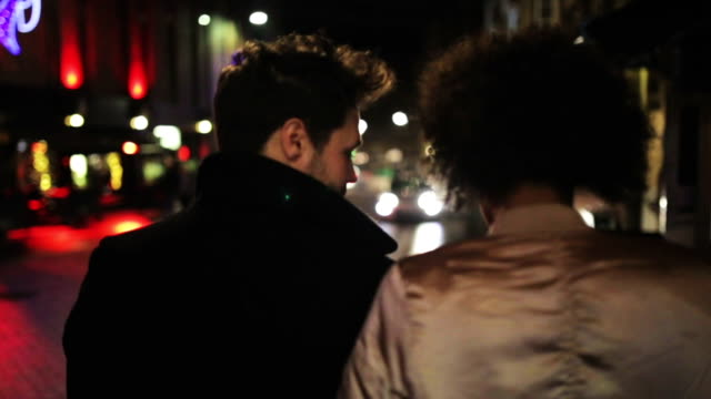 couple walking through the city - nightlife stock videos & royalty-free footage