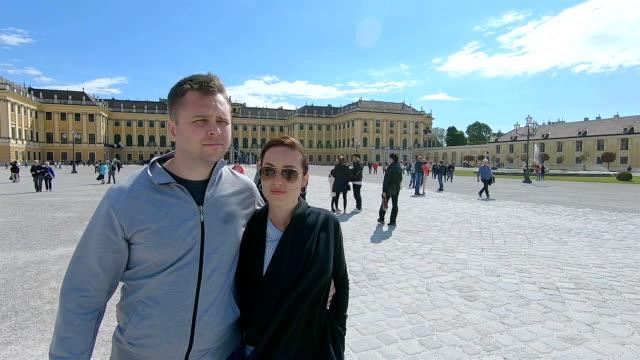 couple walks around the sights of vienna. austria. - ukrainian ethnicity stock videos and b-roll footage