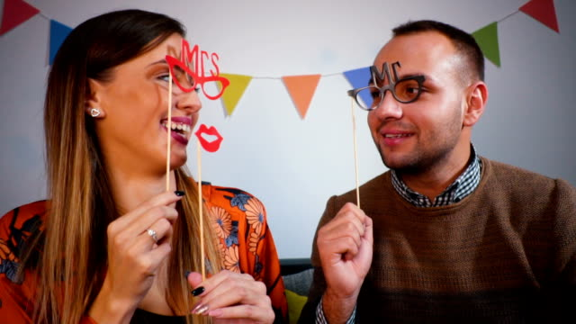 Couple with cute Valentine's accesories