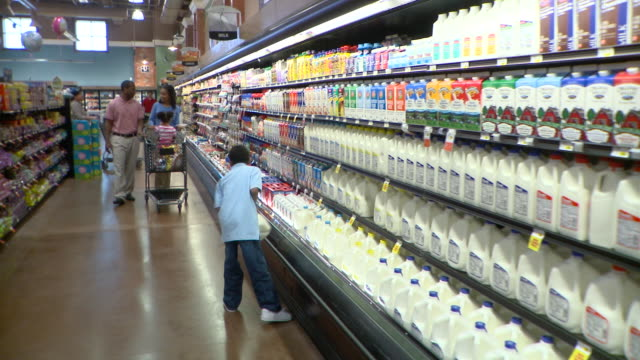 MS Couple with daughter (2-3) and son (8-9) shopping in supermarket, boy putting milk bottle in trolley, Richmond,  Virginia, USA