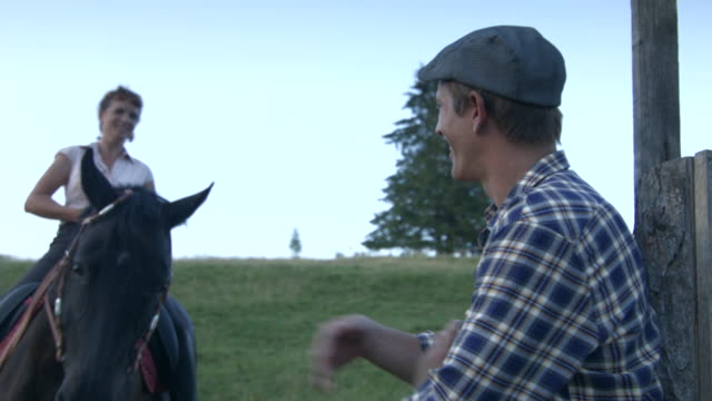stockvideo's en b-roll-footage met couple with horse in rural pasture - mid volwassen koppel