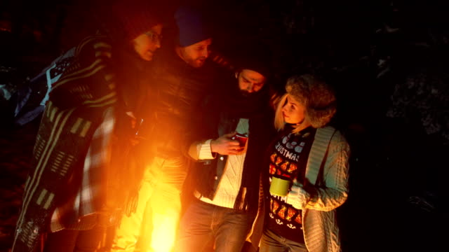 couples camping in woods - tea hot drink stock videos & royalty-free footage