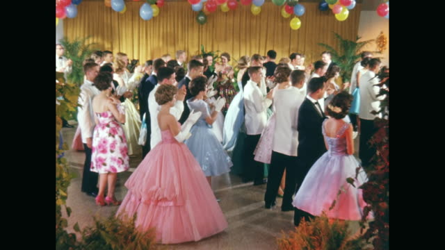 ws couples clapping on dance floor / united states - evening gown stock videos and b-roll footage