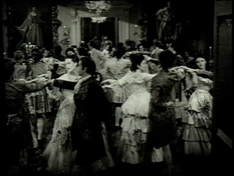 1962 reenactment couples dancing at a ball in 1748 / philadelphia, pennsylvania, united states - high society stock videos & royalty-free footage
