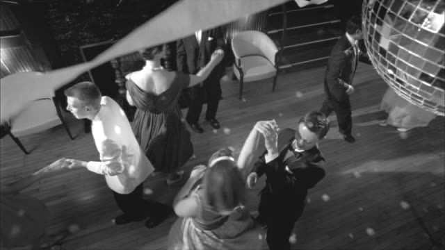 B/W, MS, HA, Couples dancing in ballroom, Rockford Woman's Club, Rockford, Illinois, USA