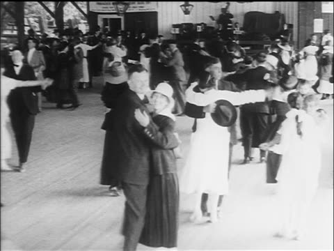 b/w 1917 couples dancing in pavilion / san francisco, ca / newsreel - newsreel stock videos and b-roll footage