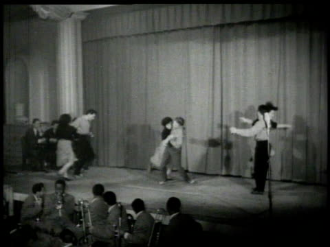 1926 MONTAGE Couples dancing the Lindy Hop on stage
