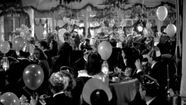 couples dine at a new year's party and start dancing when the new year strikes. - 1941 stock videos & royalty-free footage