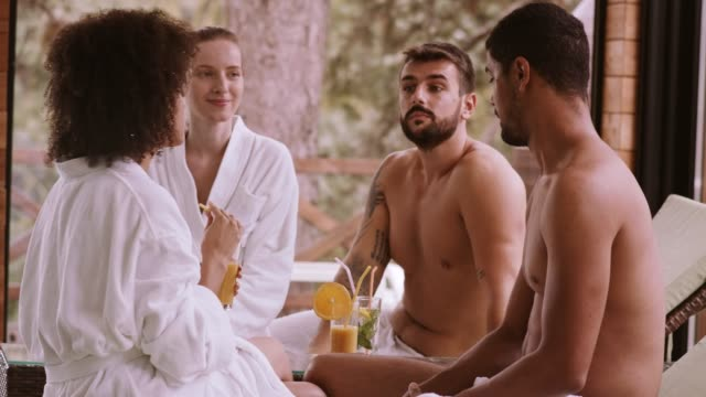 couples on a spa vacation - bathrobe stock videos & royalty-free footage