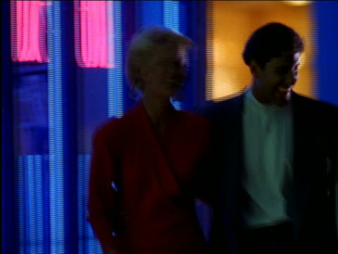 couples walking on city street at night - 1997 stock videos & royalty-free footage