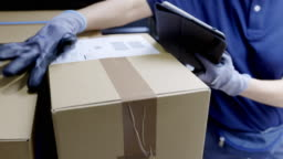 Courier checking package for delivering