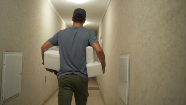 Courier delivers a packages