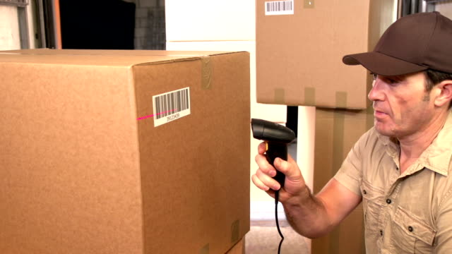 Courier / Delivery person scanning barcode on parcel in Delivery Van