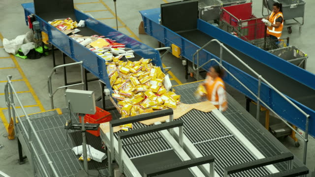 T/L WS HA Courier envelopes being sorted into conveyer system, Auckland, New Zealand