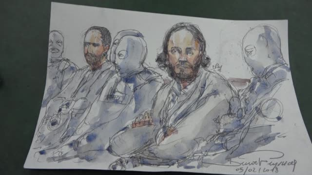 a court artist shows sketches of the first day of the trial of saleh abdeslam an alleged participant in the 2015 paris attacks who is in the dock... - participant stock videos and b-roll footage